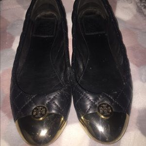 Tory Burch Black & Gold quilted flats, Sz 6